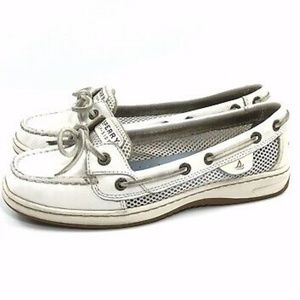 Sperry Angel Fish White Leather Mesh Boat Shoes 7M